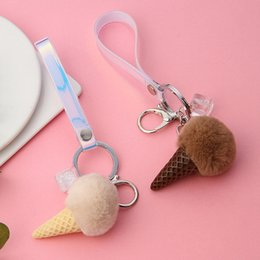 Discount backpack key chain - Fur Ball Cream Cone Keychain Furry Acrylic Key Chain Ring Keyring Pompon Backpack Women Shoulder Bags Pendant