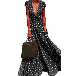 $enCountryForm.capitalKeyWord NZ - wholesale Long Dress Summer Women Casual Deep V Neck Short Sleeve Sundress Party Beach Sexy Split Polka Dot Maxi Dress Plus Size