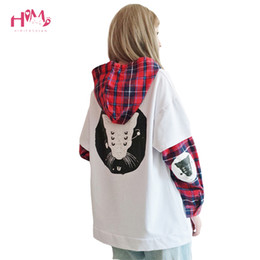 cat collar cute Australia - Japanese Cute Street Women Sweatshirt Harajuku Kpop Kawaii Cat Anime Girl Clothes Plaid Hoodies Black Pullover Female Sweatshirt SH190913
