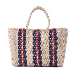 PaPer shoulders online shopping - Vintage Woven Straw Bag Shoulder Tote Handbag Knitted Simple Paper Rope Stripes Woven Beach Storage Bag For Women Causal Bags