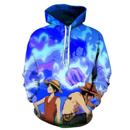 Luffy Clothes UK - Cloudstyle Anime 3D Hoodies Men Clothes 2018 Sweatshirts One Piece Luffy Print Pullovers Harajuku Tops Streetwear Asian size