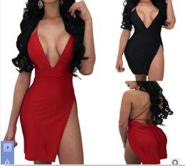$enCountryForm.capitalKeyWord Australia - wholesale new style Sexy Women's Deep V-necktie Dresses nightclub with Open Crotch Short skirt bar party black red Bikini Swimsuit beach