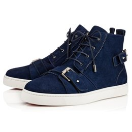 $enCountryForm.capitalKeyWord NZ - Luxury Red Sole Sneakers Mono Strap Black Blue Suede Matte Red Bottom Sneaker Flat Monostrap Zipper Boots