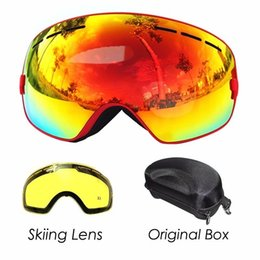 ski goggles case Canada - COPOZZ Ski Goggles with Lens and Box Case Ski Mask UV400 Anti-fog Snow Goggles Big Spherical Skiing Snowboarding for Men Women Y200616