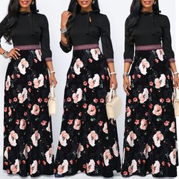 Wholesale long sleeve maxi dress style for sale – plus size Women Maxi Dress Spring Floral Print Boho Style Holiday Dress Casual Long Sleeve Party High Waist Dress Vestidos Plus Size