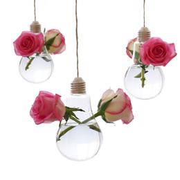 $enCountryForm.capitalKeyWord Australia - Lightbulb Glass Flower Planter Vase Terrarium Hydroponics Container with Double Hole Office Home Garden Wedding Decor