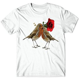 T Birds Shirt NZ - Sparrow t shirt Spadger love short sleeve gown tops Bird rose fastness tees Colorfast print clothing Pure color modal tshirt