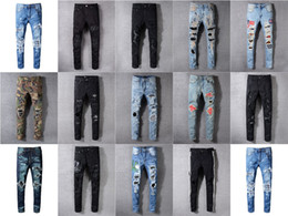 Wholesale 22 Designs Brand AMI Jeans Clothing Designer Pants Off Road Panther Black Soldier Mens Slim Denim Straight Biker Hole Hip Hop Jeans Men