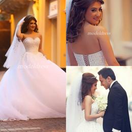Ball Gown Wedding Dresses Australia - White Pearls Ball Gown Wedding Dresses 2019 Sweet Heart Corset Sweep Train Arabic Major Beading Bridal Gowns vestido de novia Plus Size
