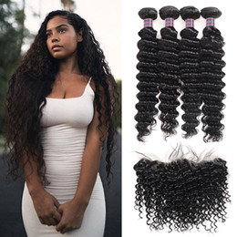 color human hair bundles closure 2019 - Indian Human Hair Kinky Curly Loose Deep Peruvian Human Hair Bundles With Closure Brazilian Body Wave Hair Weaves 4pcs W