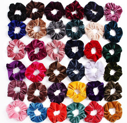 pony girl leather UK - 39Colors Solid Girls Velvet Elastic Hair Scrunchie Scrunchy Head Band Ponytail Hairbands Girls Hair Rope Hair Accessories GD66