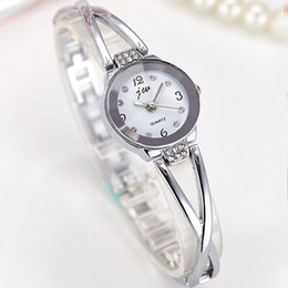 rhinestone bands for watch UK - Gorgeous Small Bangle Bracelet Luxury Watches with Rhinestones Silver Gold Band Retro Ladies Quartz Wristwatches for Women 2 Colors 1 Pc