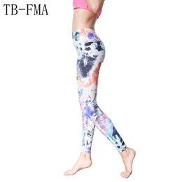Cotton Print Material NZ - Printed Yoga Pants Women High Waist Yoga Sport Leggings Women pants Top Quality High Elastic Waist Thick Material female #640956