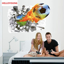 $enCountryForm.capitalKeyWord Australia - DIY Home Decor Removable 3D Broken wall football Wall Stickers Kids Room Waterproof Wallpapers Mural All-match Style