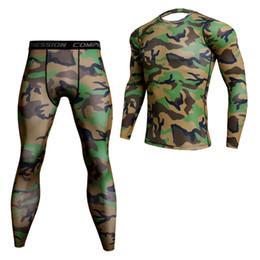 Fitness Leggings Lycra Australia - 2019 2017 Men Camouflage Compression Sets T Shirt Lycra Base Layer Crossfit Fitness T-shirt Joggers Tops Leggings Plus
