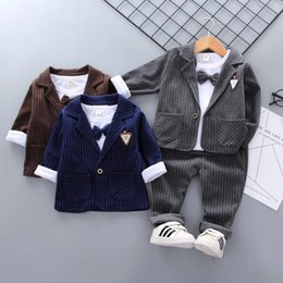 36f585d70 2019 New Spring Children Kids Tie Blazer Formal Cotton Gentleman Casual  Boys Jackets T-Shirt Pants 3pcs sets Infant Suit