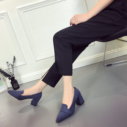pull shoes Canada - Unique2019 Autumn Shoes Sharp Down Noodles All-match Shallow Mouth Low Pull The Cart Feet Thick With Non-slip Women's Singles Shoe
