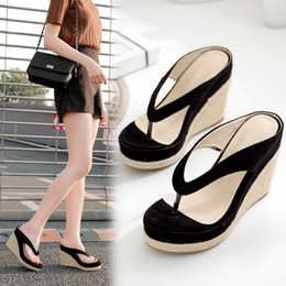 $enCountryForm.capitalKeyWord Australia - Women Slippers High Heel Summer Sandals Fashion Black Pink Platform Wedges Slippers Ladies Platform Sandals 11cm Heel Flip Flops