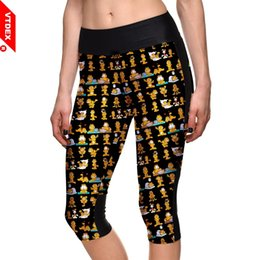 Tight Plus Sized Leggings Australia - Yoga Leggings Capris VTDEX 2018 Women Elasticity Sports Cropped Pants Garfield Pattern GYM Running Tights Leggings Plus Size 4XL #197970