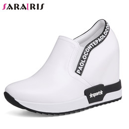 Discount casual slip wedge shoes - SARAIRIS 2019 New INS Hot Fashion Slip On Sneakers Genuine Leather Shoes Woman Casual Wedges Shoes Women Size 32-40