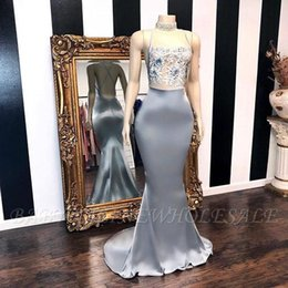 Silver Falls Australia - African Silver Prom Party Dresses 2019 Crew Neck Mermaid Beads Applique Lace Plus Size Evening Gowns