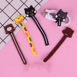 Discount wire cord protector - Cartoon Earphone Cable Winder Protector Wire Cord De Cabo Organizer for IPhone 5 5s 6 6s 7 8 X Plus Computer PC Cable Cl