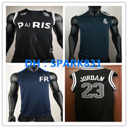 967a1217b25 2018-19 Real Madrid PSG Soccer training vest 18 19 Paris sleeveless MBAPPE  GREZMANN RONALDO JAMES POGBA Messi football shirt vest