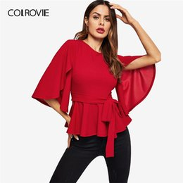461ef4b1d Colrovie Red Solid Half Split Sleeve Belted Peplum Elegant Blouse Women  2019 Spring Korean Zipper Casual Shirts Ladies Tops Y19042902