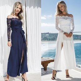 92f5e9bf76a Women Ladies Clubwear Summer Lace Off Shoulder Playsuit Jumpsuit Romper Long  Pants Party Trousers Sexy Women Clothes