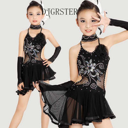 tango dancewear UK - Child Latin Dance Dresses For sequin style Cha Cha Rumba Samba Ballroom Tango Dance Clothing Kids Costume Girls Dancewear