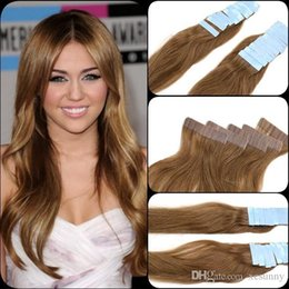 "hair extensions india Australia - #27 honey blonde 12""-26"" Skin Weft Hair Extension India Premium Remy Pu Tape In 20 Pcs 2.5g pc Real Natural Human Hair"