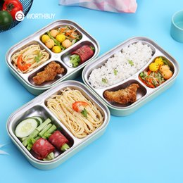 kids lunch box containers Australia - Worthbuy 304 Stainless Steel Japanese Lunch Box With Compartments Microwave Bento Box For Kids School Picnic Food Container T190710