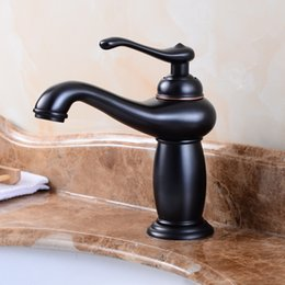 Kitchen Faucet Antiques Australia - European short black bronze water basin cold and hot water faucet bathroom antique faucet Kitchen sink faucet
