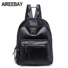 Backpacks For Women Travelling Australia - Aireebay Brand Women Leather Backpacks Female School Bags For Girls Rucksack 2018 New Preppy Style Black Travel Bagpack Y19061102