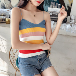 tops tshirts for girls NZ - 2019 Summer Women Knit Rainbow Stripe Camis Tops Girls Knitwear Camisole Sleeveless Sweater Tshirts For Female