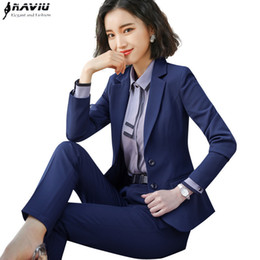 Back To Search Resultswomen's Clothing Plus Size S-3xl Dark Blue Women Pants Suits For Work Wear Single Breasted Business Formal Ladies Suits Conjuntos Trajes Pantalon