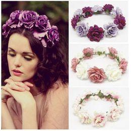 White Rose Garlands Australia - Women Wedding Flower Wreath Silk Flower Crown Lady Girls Headband Floral Garlands Hair Band Hair Accessories BOHO Beach Rose Headdress