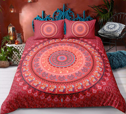 orange bedding sets double Australia - Red Bohemia Style Bedding Set King Size Tribal Style Animal Flower 3D Duvet Cover Queen Home Dec Single Double Bedspread with Pillowcase
