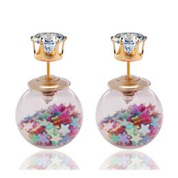 $enCountryForm.capitalKeyWord Australia - New Fashion Jewelry Golden Crown Crystal Shining Double Sides Big Glass Pearl Stud Earrings Star Ball Earrings Ear Stud Women