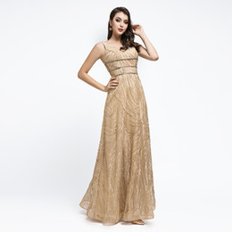 golden maxi dress 2019 - Elegant A Line Golden Evening Dresses Backless Formal Prom Party Gowns Cheap Maxi Dress V Neck discount golden maxi dres