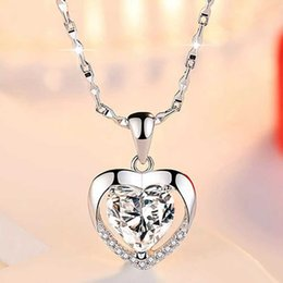 Love Crystals Gemstones Australia - Luxury Crystal heart Love pendant Necklaces Women Blue White CZ Gemstone Charm Silver plated chain For Ladies Fashion Jewelry Gift