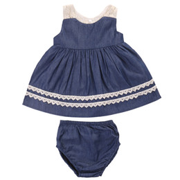 $enCountryForm.capitalKeyWord UK - 2017 Summer Cute Newborn Baby Girl Clothes Set Sleeveless Lace Vest Dress Top+Bloomers Bottom Denim Suit Children Clothing Set Y18120801