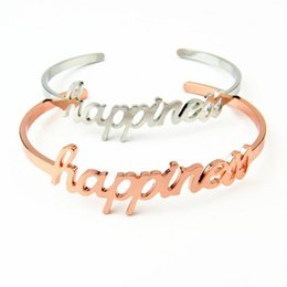 $enCountryForm.capitalKeyWord Australia - 1 Pcs Kawaii Gift for Girlfriend Gold Siliver HAPPINESSS Bracelet Valentines Day Presents Gift Wedding Souvenir Party Favor