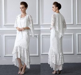 Asymmetrical Suit Australia - 2 Pieces Formal Lace Mother Of the Bride Suits Long sleeves Sheath High Low Plus Size Mother Dress With Coat Evening Gowns