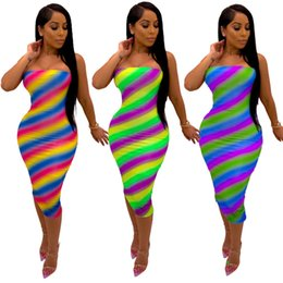 clothes wraps 2019 - Women casual bodycon dresses summer clothes fashion stylish striped strapless chest wrap off shoulder sleeveless sheath