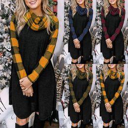 Wholesale long dresses xxl size resale online – 4 Colors Women Dress Plaid Long Sleeve Stitching Dress Pile Collar Fashionable Casual Fashion Autumn And Winter Asain Size S XXL