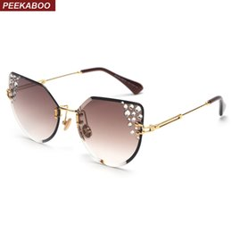 eye sunglasses for summer UK - wholesale rimless rhinestone sunglasses women cat eye designer 2019 summer frameless sun glasses for women luxury uv400