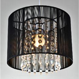 Dining room fabric online shopping - Modern crystal chandelier importers K9 crystal lustres de cristal fixture Black White fabric chandelier for living bedroom lamp