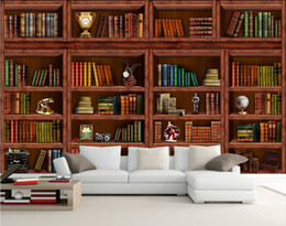 Book Bookshelves online shopping - 3d wallpaper on the wall custom photo mural Bookshelf book and clock background Home decoration living room wallpaper for walls d