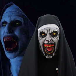 Discount scary movie face mask - The Nun Horror Mask Cosplay Valak Scary Latex Masks With Headscarf Full Face Helmet Men Women Halloween Party Props 2018